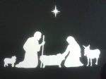 Nativity Christmas family window stickers - RESUSABLE  including sheep, donkey and star